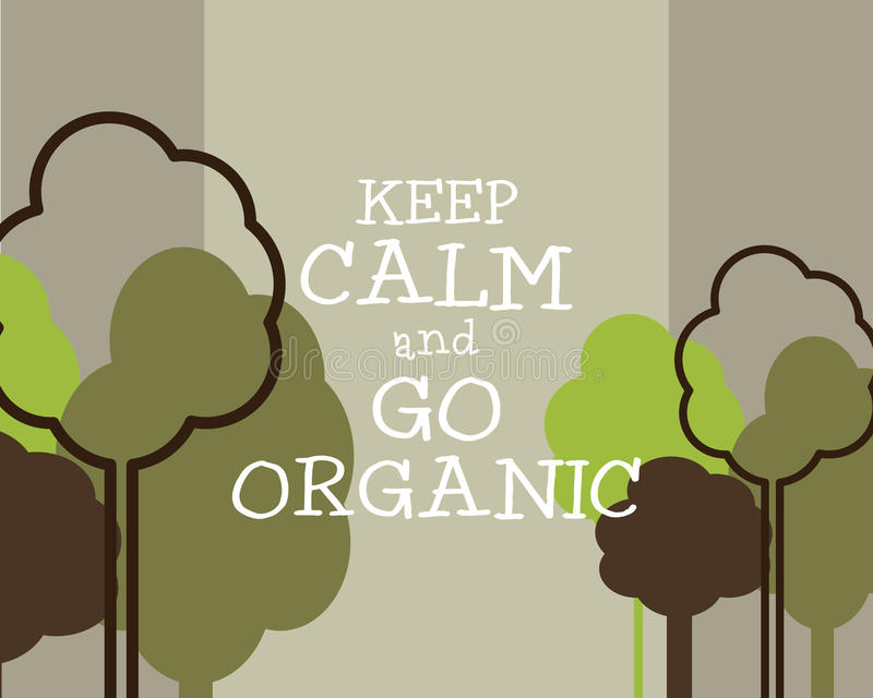 保留安静并且去有机Eco海报概念 库存例证