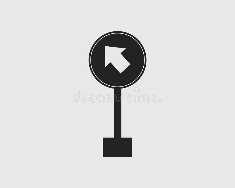 保留左路在灰色背景的被环绕的箭头标志象 皇族释放例证