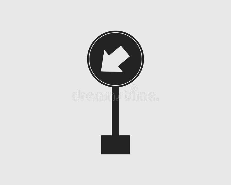 保留左路在灰色背景的被环绕的箭头标志象 库存例证