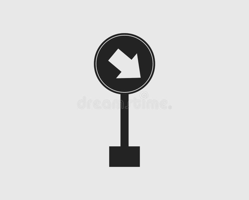 保留正确的路在灰色背景的被环绕的箭头标志象 库存例证