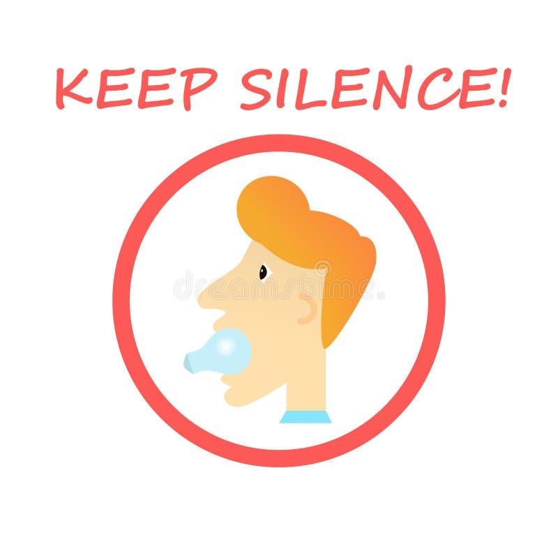 保留沈默标志-有一个电灯泡的人在他的嘴 免版税库存照片