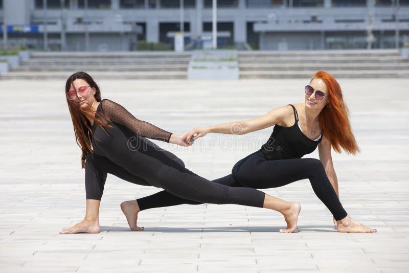 保留适合的两名成熟妇女通过做瑜伽在夏天 图库摄影