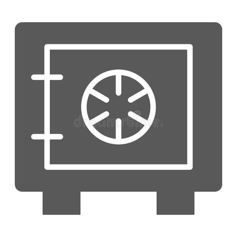 保管箱纵的沟纹象、安全和金钱,银行安全标志,向量图形,在白色背景的一个坚实样式 皇族释放例证