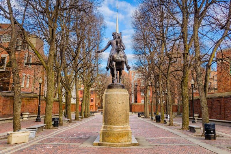 保罗・雷韦雷纪念碑波士顿 免版税库存照片