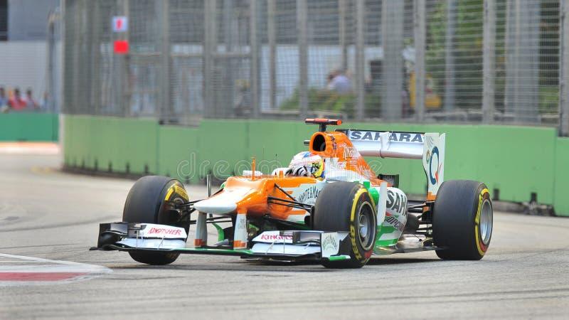 保罗・ Di赛跑在新加坡F1的Resta 2012年 库存照片
