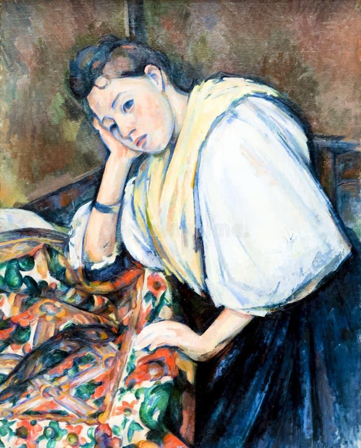 保罗Cézanne,年轻意大利妇女在表上, J 集中getty 免版税库存照片