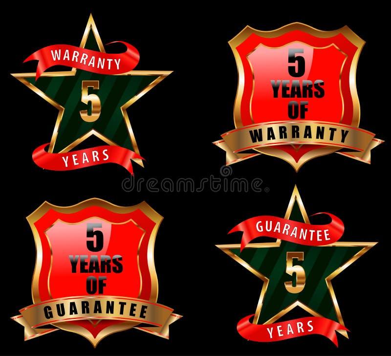 5保证和保单证章,保证标志,保单标签 向量例证