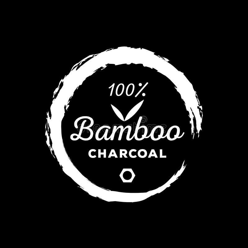 保证商标一百与圆的刷子stro的竹子木炭 向量例证