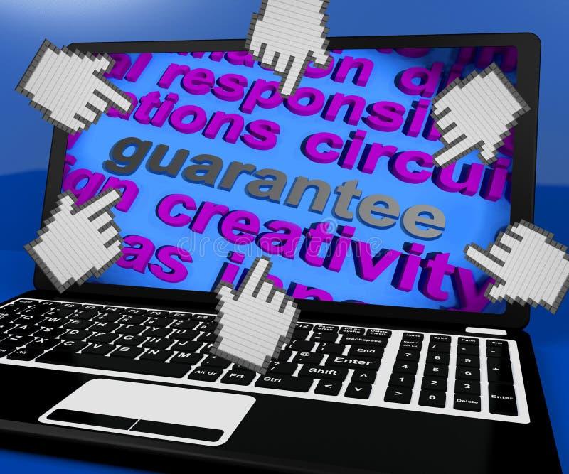 保证膝上型计算机屏幕显示诺言保证或保单 向量例证