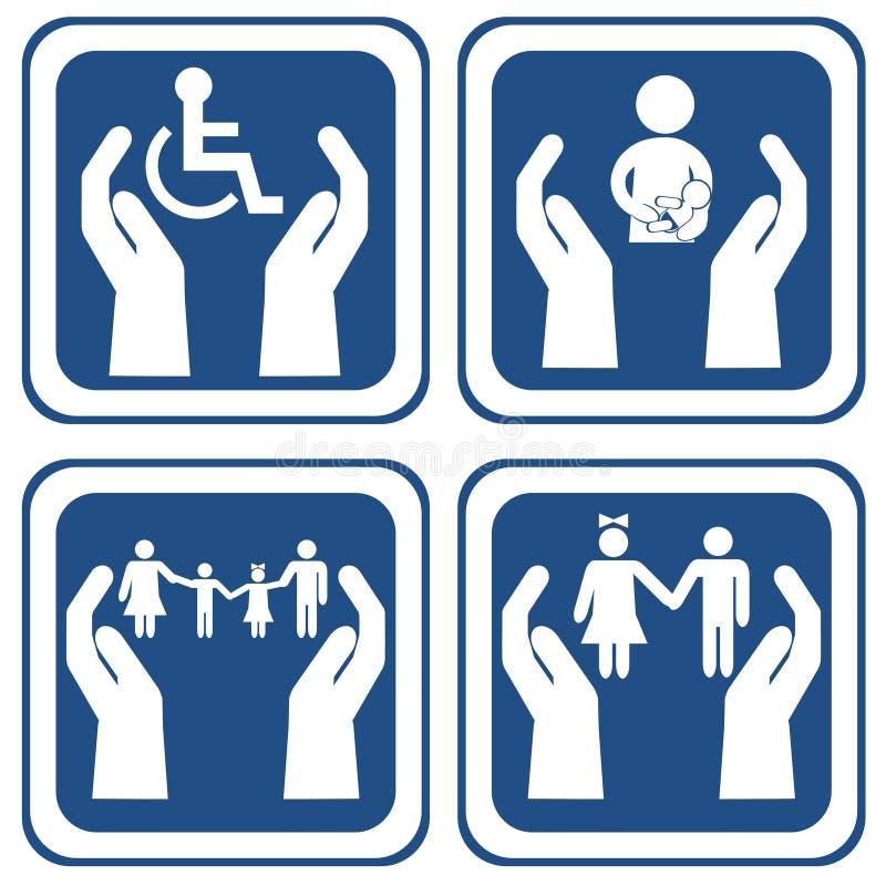 保重关于人社会生活概念海报的 库存例证
