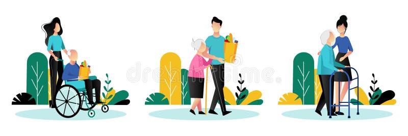 照顾老年人的社会工作者 矢量平面动画插图 志愿者帮助老年人 向量例证