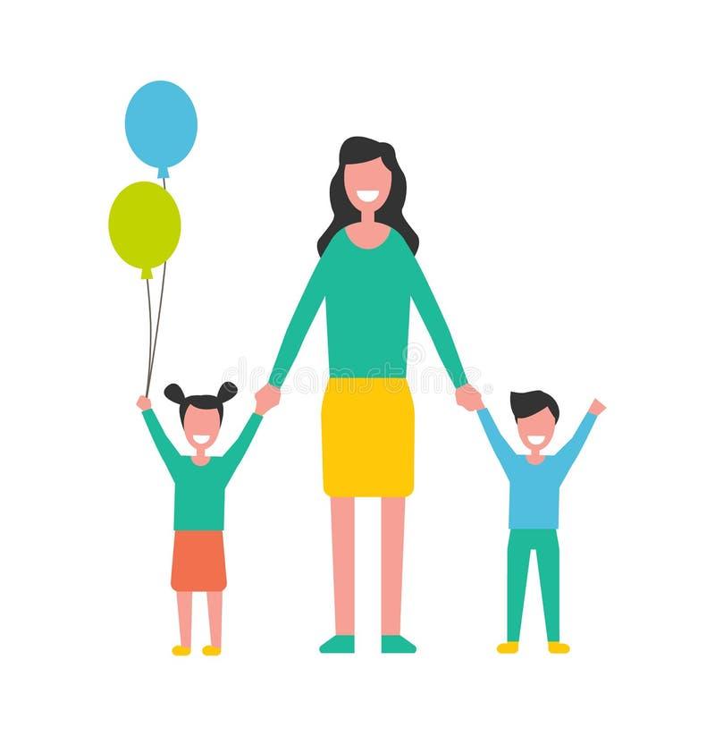 保重关于孩子的妇女,母亲儿子,女儿 库存例证
