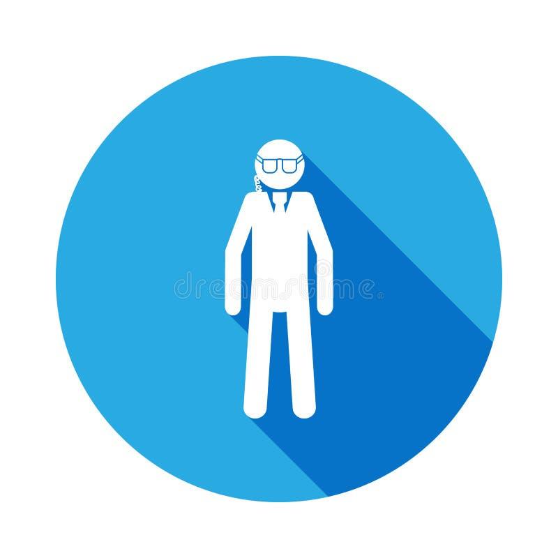 保镖与长的阴影的剪影象 特勤元素象 行业标志,被隔绝的标志汇集象为 库存例证