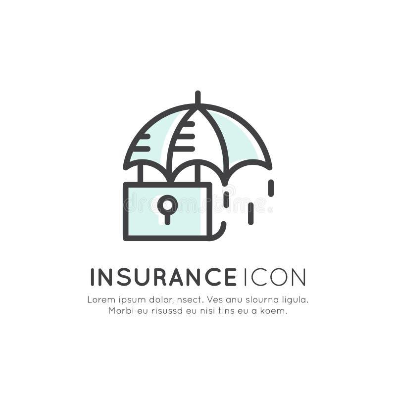 保险业务,保障,安全概念, Minimalistic对象的例证 皇族释放例证