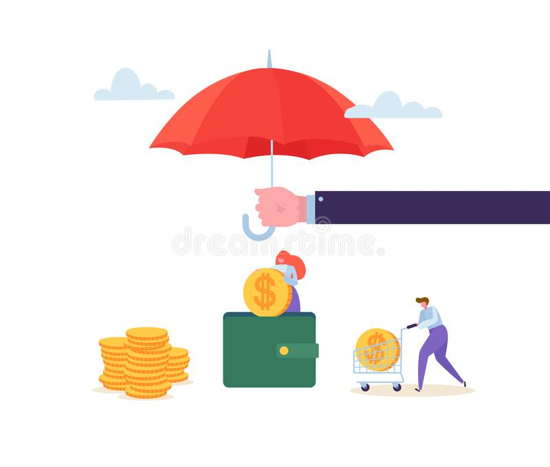 保险代理公司在金钱储款财政保护概念的藏品伞与收集金黄硬币的字符 库存例证
