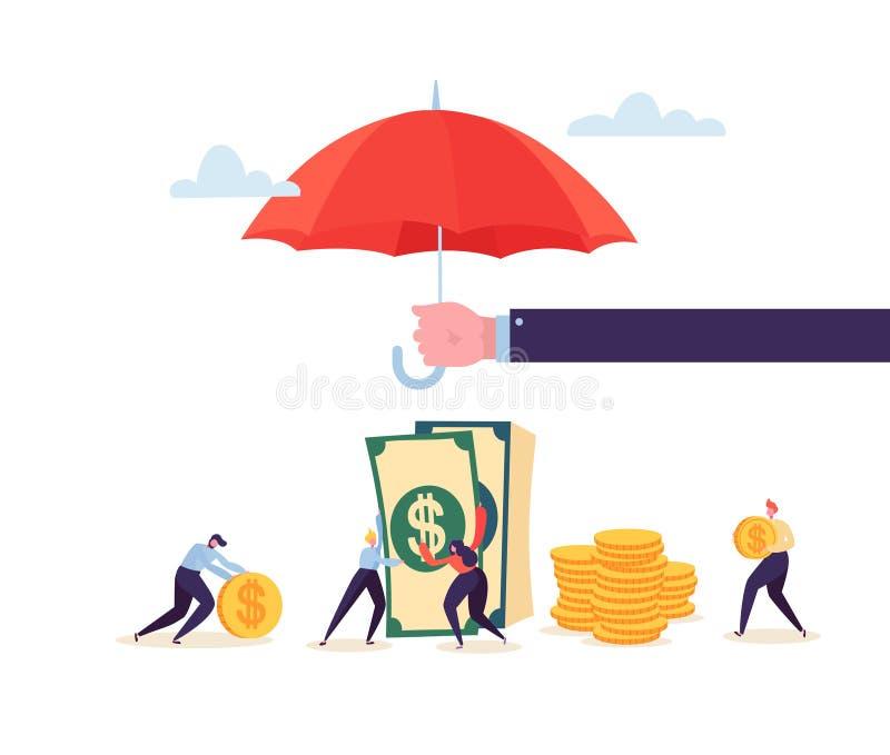 保险代理公司在金钱储款财政保护概念的藏品伞与收集金黄硬币的字符 皇族释放例证