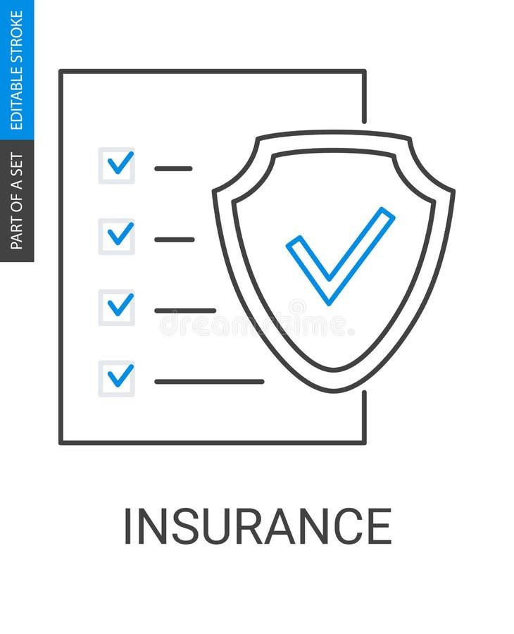 保险单在白色背景隔绝的概述象 皇族释放例证