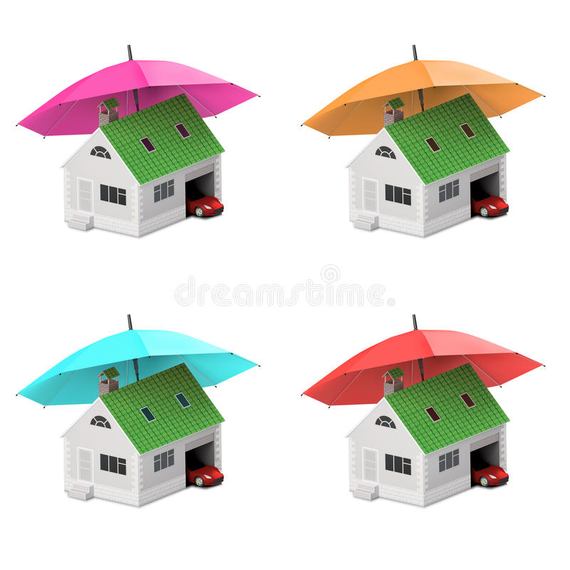 保险家,房子,生活,汽车保护 买的房子和汽车家庭象的 保护人概念 3d例证 图标 向量例证