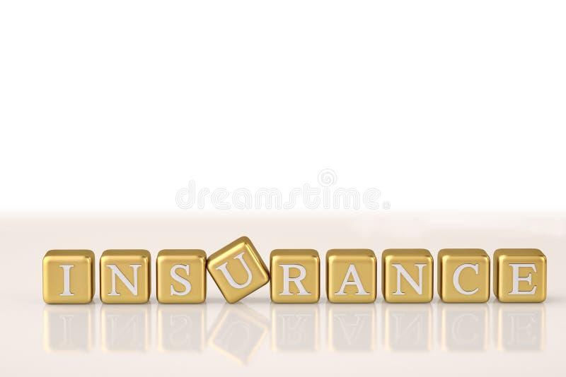 保险文本金块 3d例证 向量例证