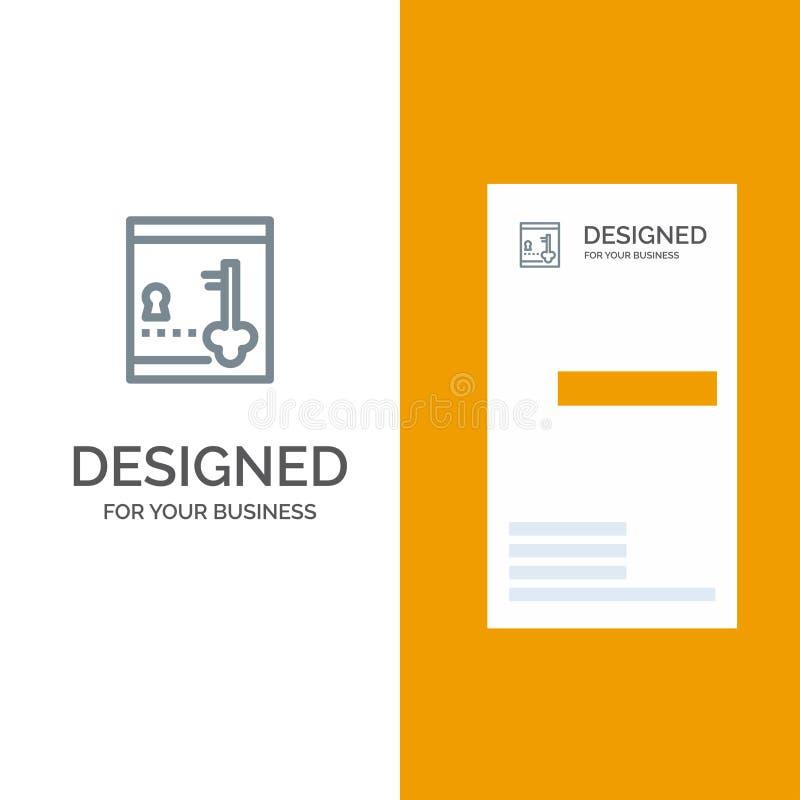 保险柜、衣物柜、锁、关键灰色商标设计和名片模板 向量例证