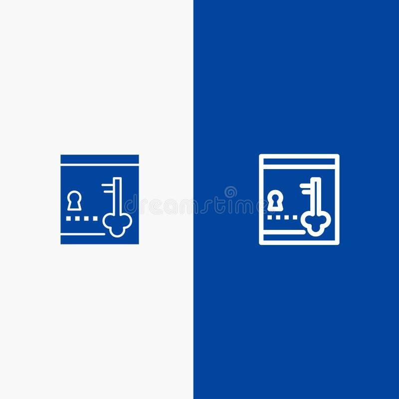 保险柜、衣物柜、锁,关键线和纵的沟纹坚实象蓝色旗和纵的沟纹坚实象蓝色横幅 库存例证