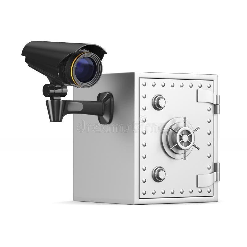 保险柜和照相机在白色背景 被隔绝的3d例证 库存例证
