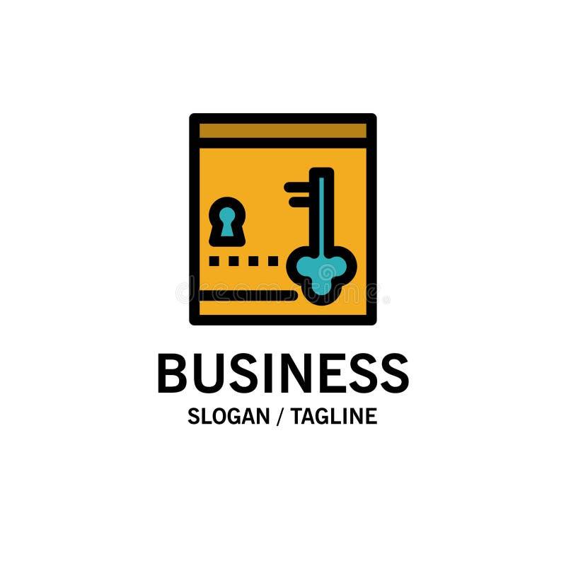 保险柜,衣物柜,锁,关键企业商标模板 o 向量例证