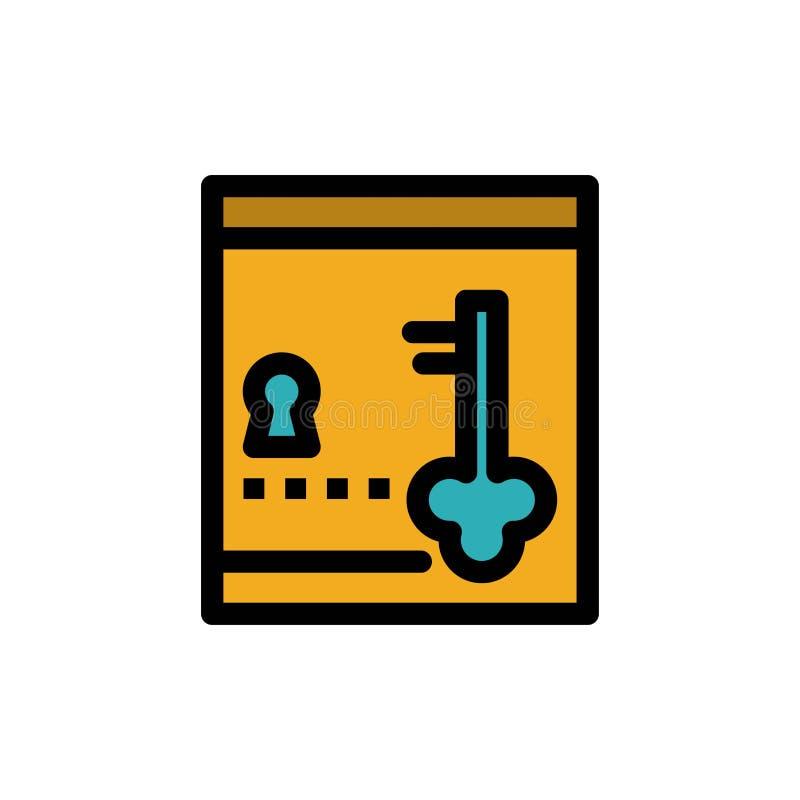 保险柜,衣物柜,锁,关键平的颜色象 传染媒介象横幅模板 库存例证