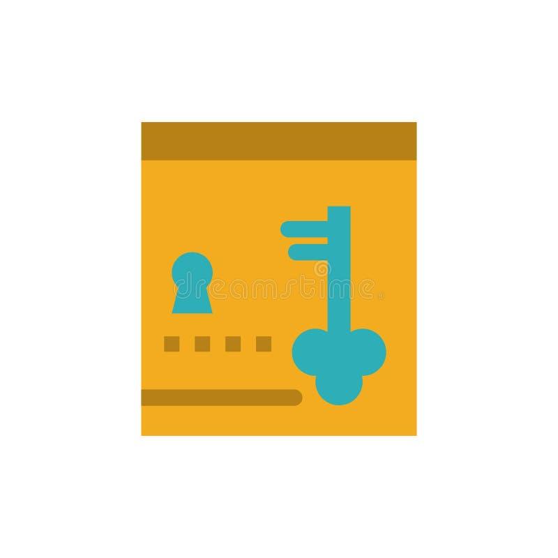 保险柜,衣物柜,锁,关键平的颜色象 传染媒介象横幅模板 皇族释放例证