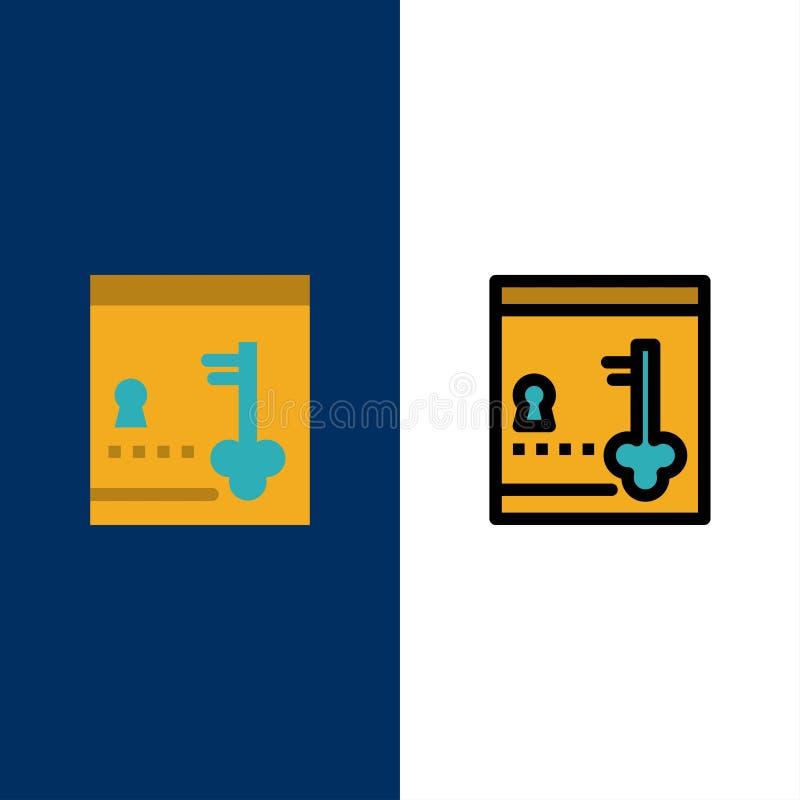 保险柜,衣物柜,锁,关键象 舱内甲板和线被填装的象设置了传染媒介蓝色背景 向量例证