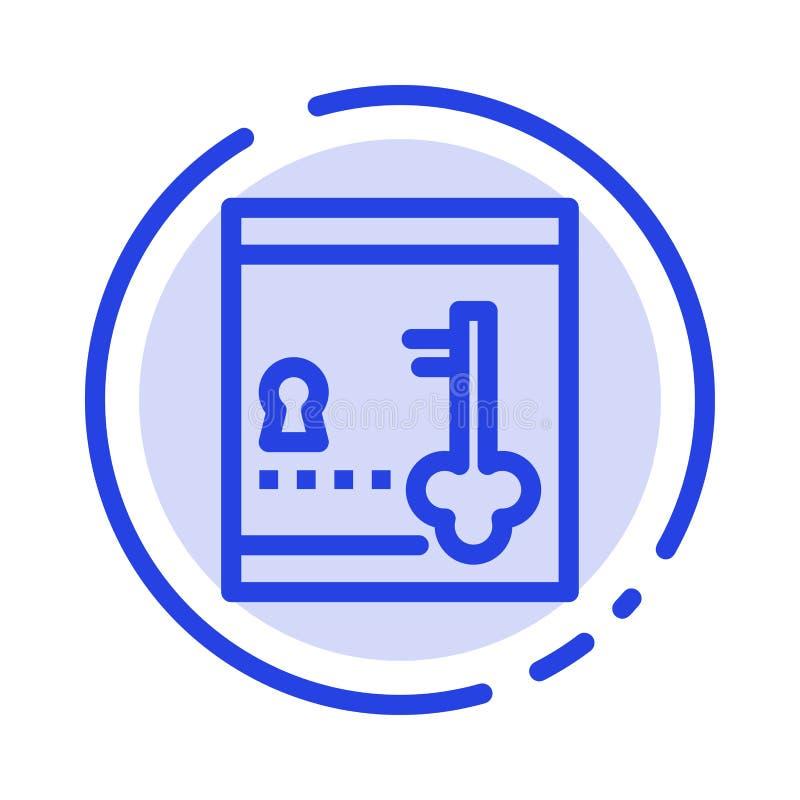 保险柜,衣物柜,锁,钥匙蓝色虚线线象 皇族释放例证