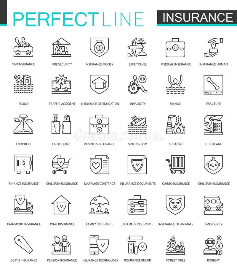 保险稀薄的线被设置的网象 汽车,房子,健康,人寿保险概述冲程象设计 向量例证
