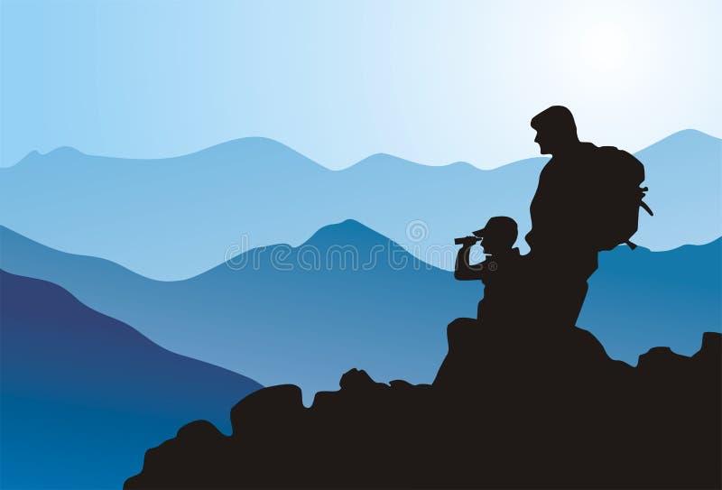 保险经纪人上升的山 向量例证
