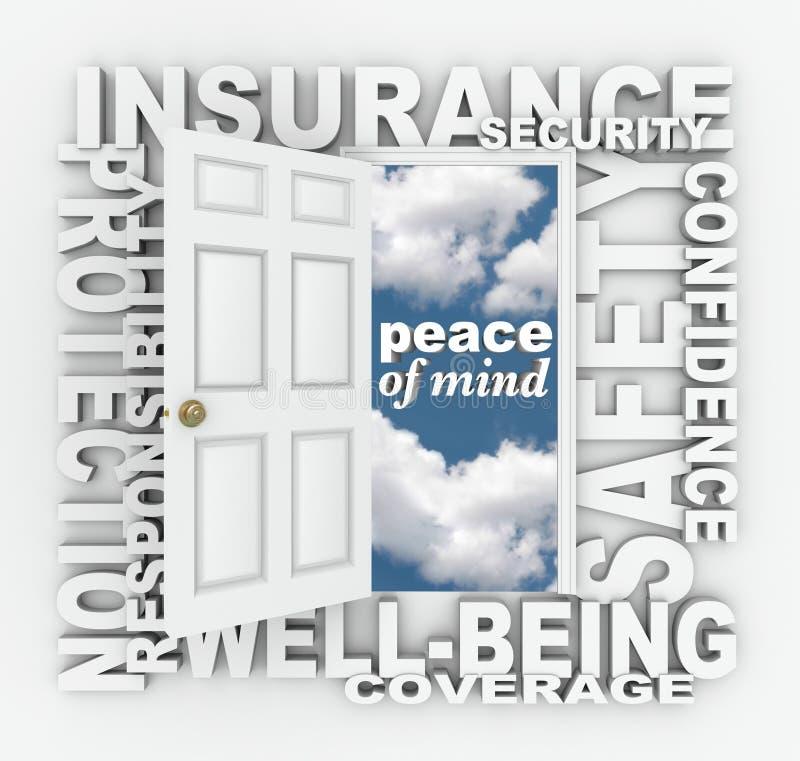 保险词门3D拼贴画保护安全 库存例证