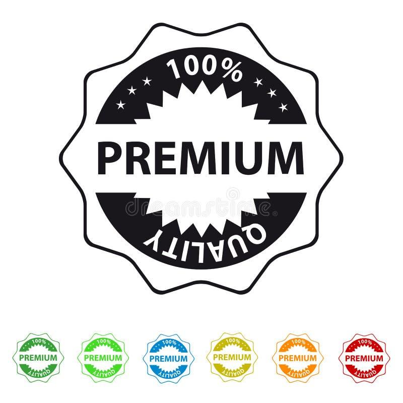 100%保险费质量封条或在白色-五颜六色的传染媒介例证-隔绝的标签平的象 库存例证