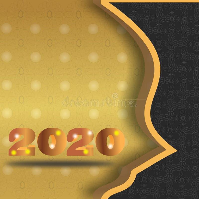 2020保险费金子新年backgrouds 皇族释放例证