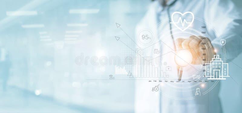 保险,医疗保健企业图表和身体检查,医治与指向企业数据成长的听诊器 图库摄影