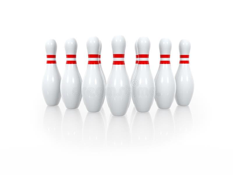 保龄球九柱游戏用的小柱 库存例证