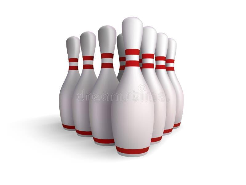保龄球九柱游戏用的小柱 向量例证