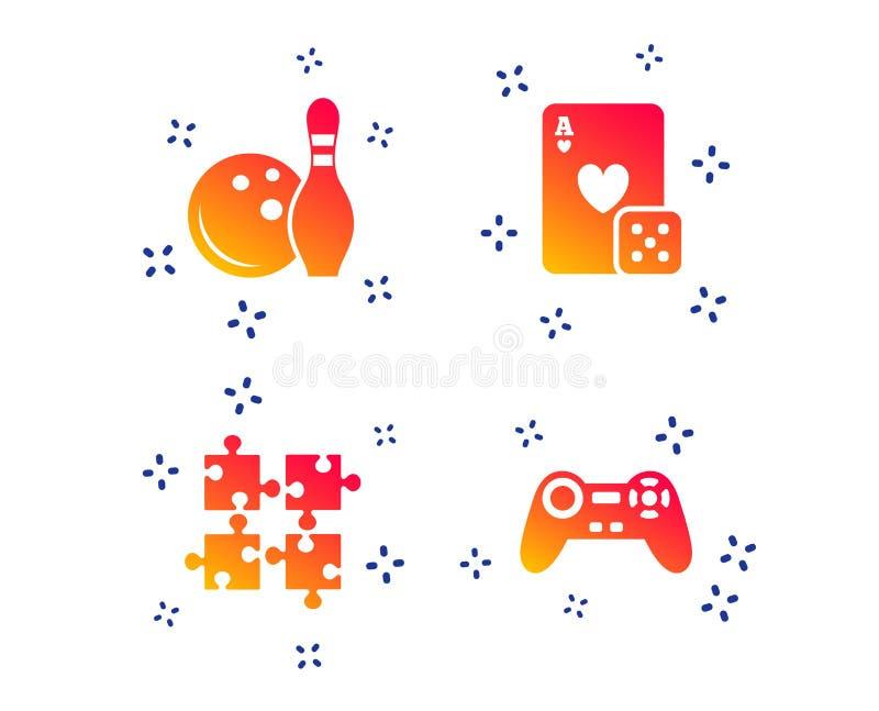 保龄球和赌博娱乐场标志 电子游戏控制杆 ?? 库存例证