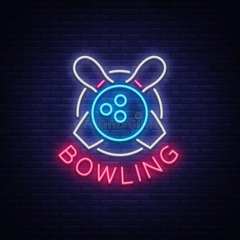 保龄球是一个霓虹灯广告 标志象征,霓虹样式商标,光亮广告横幅,夜明亮的光亮广告牌 向量例证