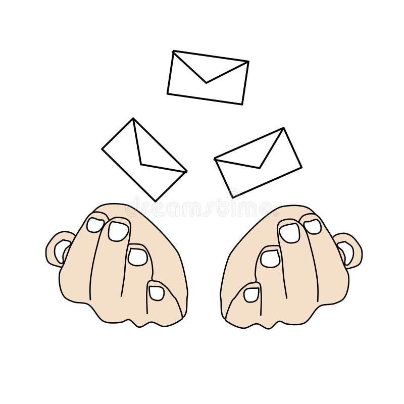信件下跌到手 彩色插图,EPS 皇族释放例证