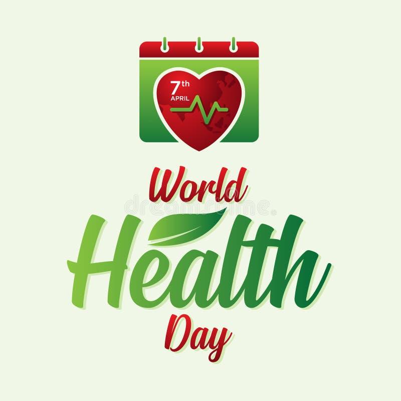 信件世界卫生日为与抽象日历和世界地图的世界卫生日 皇族释放例证