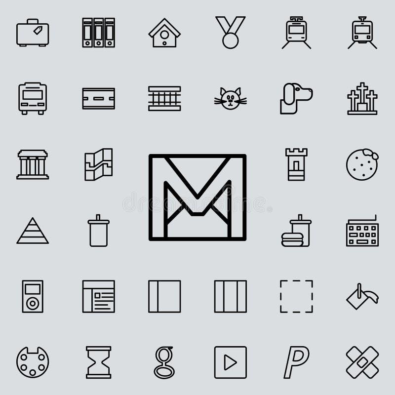 信件和标志M象 详细的套minimalistic线象 优质图形设计 其中一个网站的汇集象, 向量例证