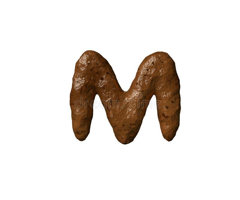 信件在白的难闻的气味褐色字母表或土隔绝的M poo,3D标志例证  向量例证