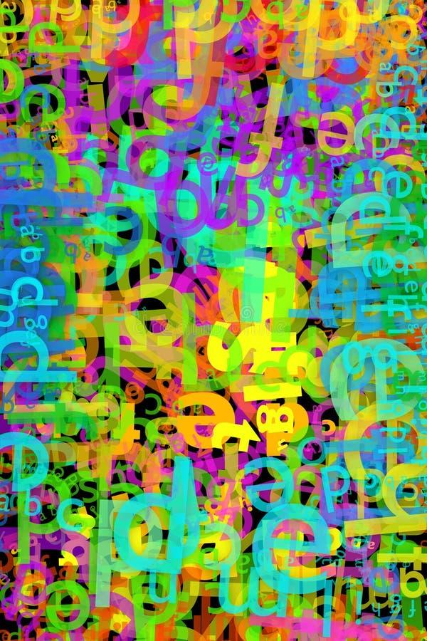 信件多彩多姿的混乱与Sans Serif字体的 库存例证