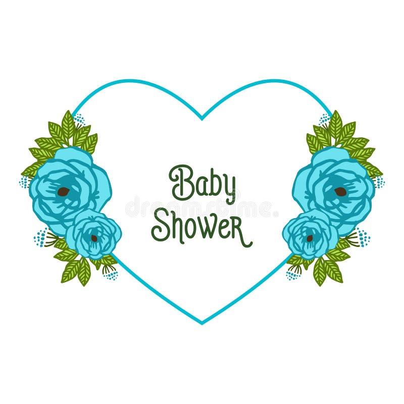 信件婴儿送礼会的传染媒介例证各种各样的样式蓝色花圈框架 库存例证