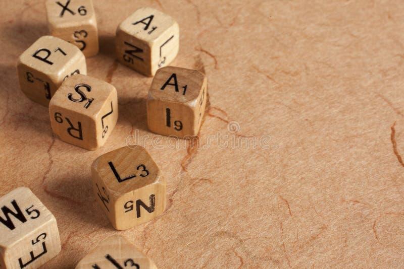 信件把-阅读困难-教育切成小方块 免版税库存照片