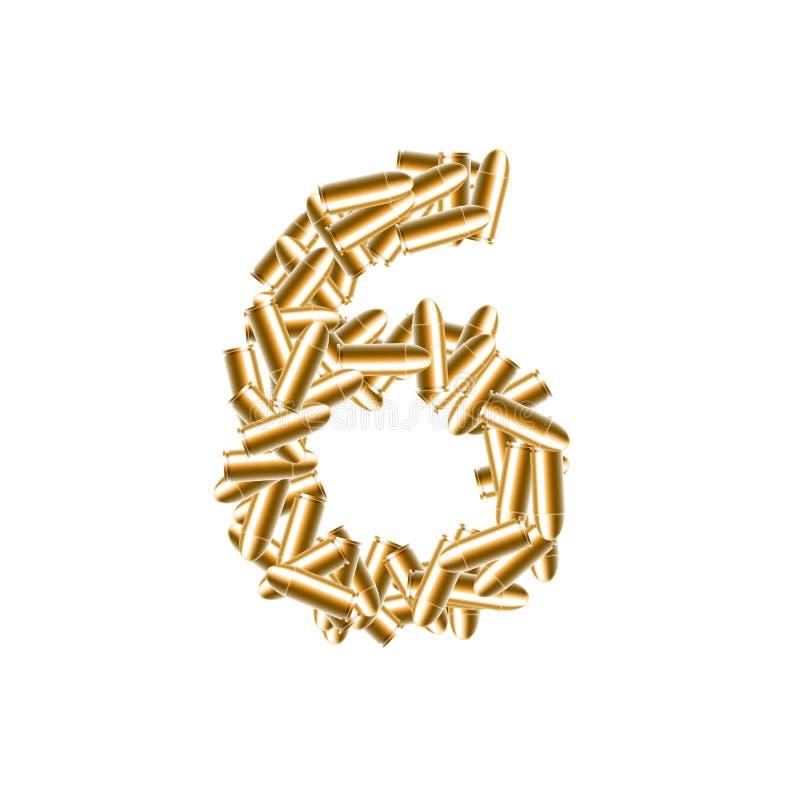 信件第六或6金子颜色,在字母表子弹集合,例证3D真正设计 向量例证