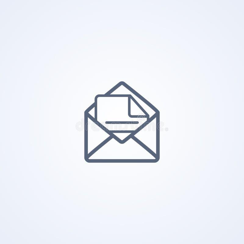 信件,读的消息,传染媒介最佳的灰色线象 库存例证